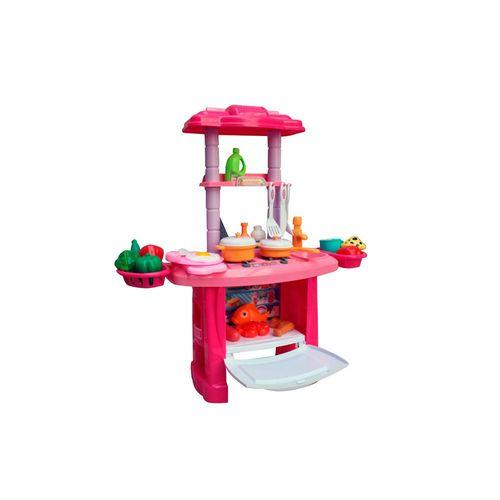 Kit Cozinha Infantil com Luzes e Sons 43 Peças Sai Água da Pia Rosa Importway Bw091