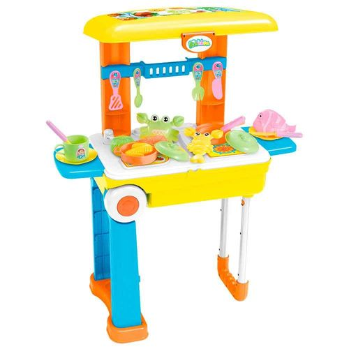Kit Cozinha Infantil Vira Maleta e Mochila 3 em 1 24 Acessórios Importway Bw103