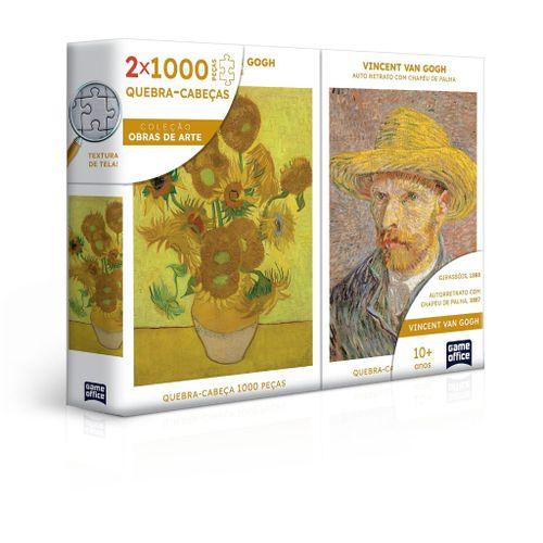 Quebra-Cabeça Combo - Vincent Van Gogh - Retrato e Girassóis - 2000 Peças - Game Office - Toyster