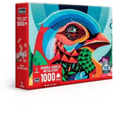 Quebra-Cabeça Metalizado - Game Office - 1000 Peças - Pássaro em Cores - Toyster