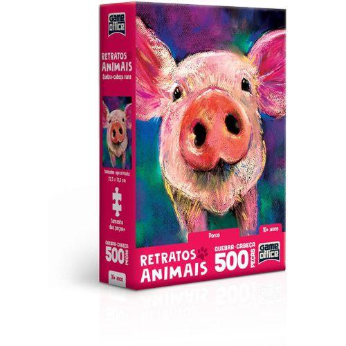 Quebra-Cabeça - Game Office - 500 Peças - Nano - Retratos Animais! - Porco - Toyster