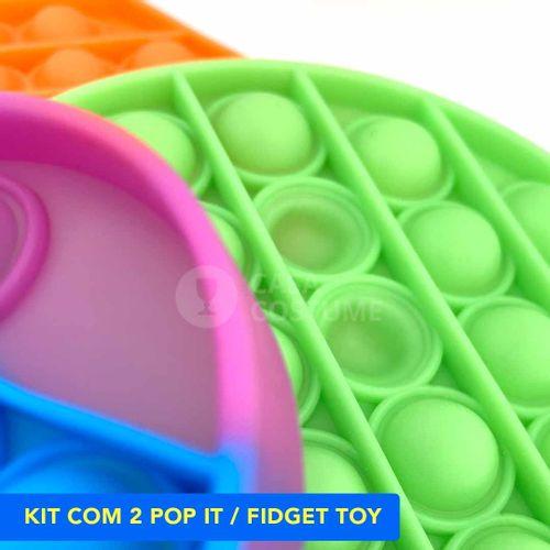 Kit com 2 Popit Fidget Toy Empurra Bolha Anti-stress Autismo Ansiedade pop it
