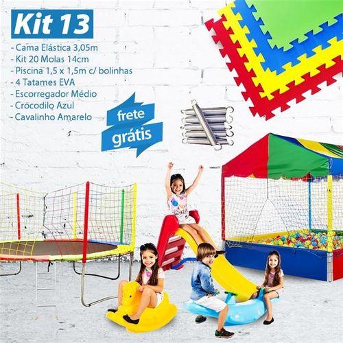 KIT 13 - Cama Elástica 3,05m + 20 Molas + Piscina 1,5m e 1.500 Bol. + 4 EVA + Esc. Médio + Croc. Cav
