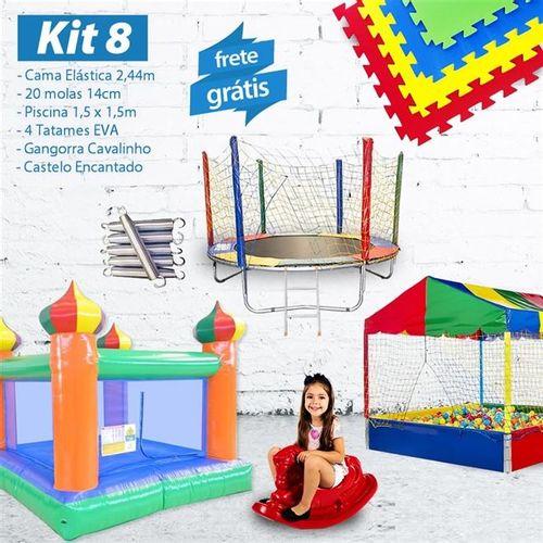 KIT 8 - Cama Elástica 2,44m + 20 Molas + Piscina 1,5m e 1.500 Bol. + 4 EVA + Cav.+ Castelo Encantado