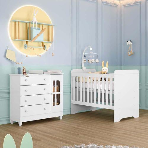 Quarto de Bebê Cômoda com Fraldário Berço 3 em 1 Gabrielle Branco Brilho Carolina Baby
