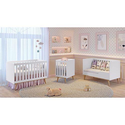 Berço Americano 3 em 1 Retrô Evolutivo Ludmila Branco Fosco com Bétula Carolina Baby