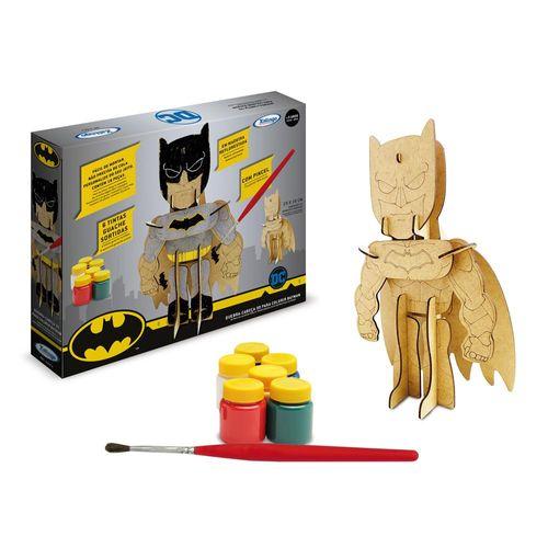 Quebra-Cabeça 3D - DC - Batman - 18 Peças - Para Colorir - Em MDF - Xalingo