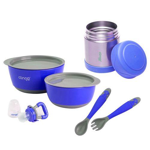 Kit de Alimentação Clingo - Azul e Cinza - 6 Peças