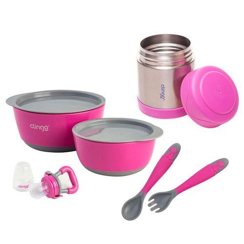 Kit de Alimentação Clingo - Rosa e Cinza - 6 Peças