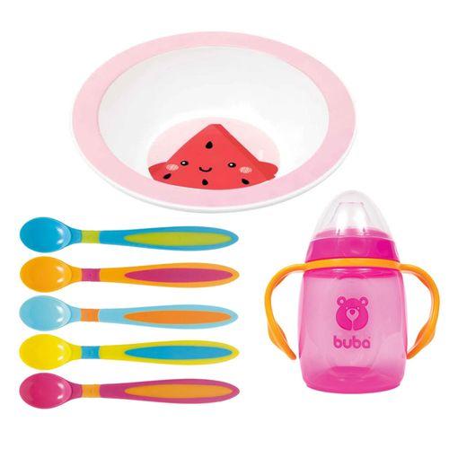 Kit de Alimentação Frutti - Melancia - 7 Peças com Bowl - Buba