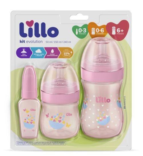 Kit de Mamadeira Primeiros Passos 50/150/240ml Rosa - Lillo