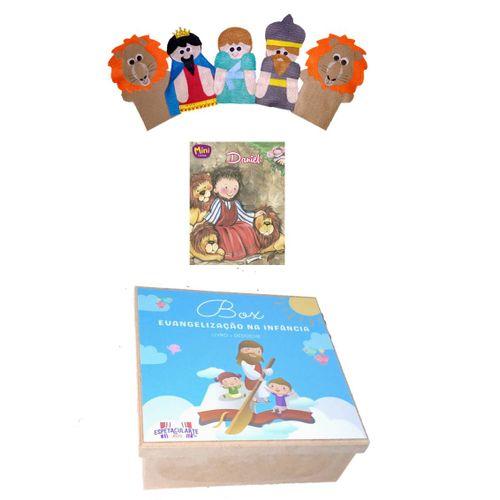 Box Evangelização Daniel na Cova dos Leoes - Kit De Dedoches + Livro