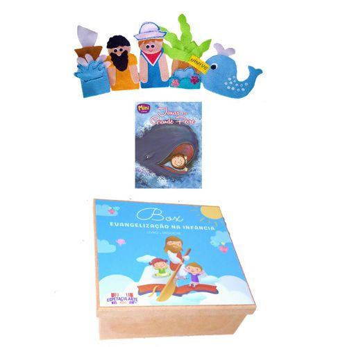 Box Evangelização Jonas e a Baleia - Kit De Dedoches + Livro