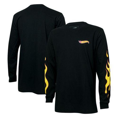 Camiseta Manga Longa Masc. Hot Wheels Logomania Flames - Preta