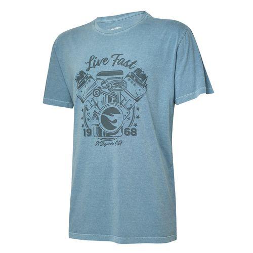 Camiseta Masc. Hot Wheels Gear Head Live Fast Estonada - Azul
