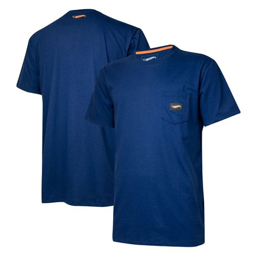 Camiseta Masc. Hot Wheels Logomania Pocket - Azul