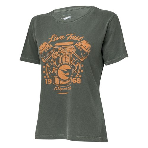 Camiseta Fem. Hot Wheels Gear Head Live Fast Estonada - Preta