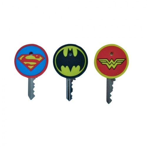 Set 3 capas para chaves pvc heroes signs dc colorido 3,5 x 2