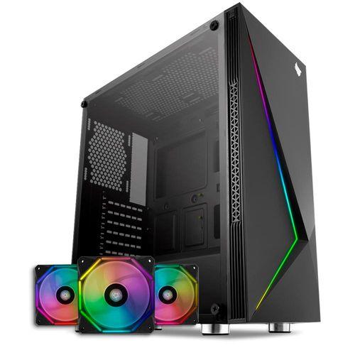 Gabinete Gamer Komor RGB + Kit Ventoinhas Wave RGB 3x + Controladora