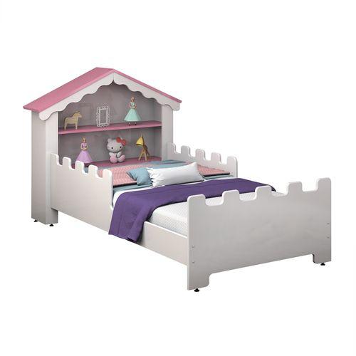 Cama Infantil Magic Branca Rosa com Colchão