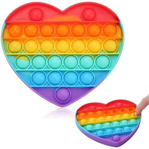 Pop It - Fidget Toys Coração Colorido Brinquedo Anti Stress