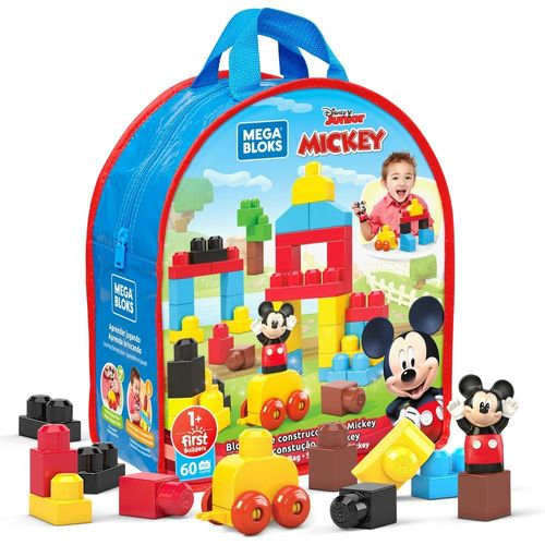 Blocos De Encaixe - Mega Bloks - Disney - Sacola De Blocos - Mickey - 60 Blocos - Mattel