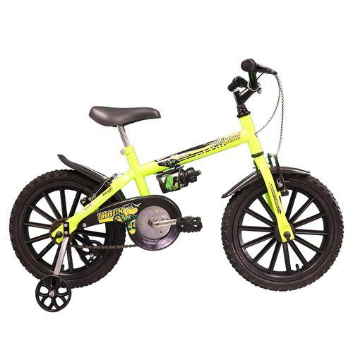 Bicicleta - Aro 16 - Dino - Com Garrafinha - Tk3-Track - Amarelo Neon
