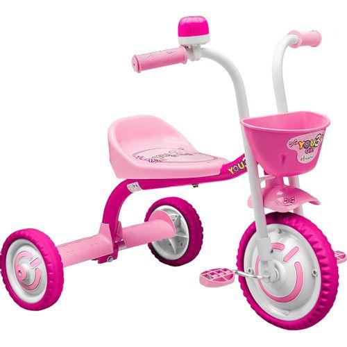 Triciclo Infantil Nathor You 3 Girl - Rosa/Branco