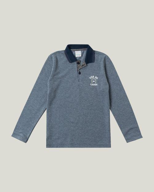 Camisa - Malwee Kids - Polo - Sustentável- Azul Escuro - Menino