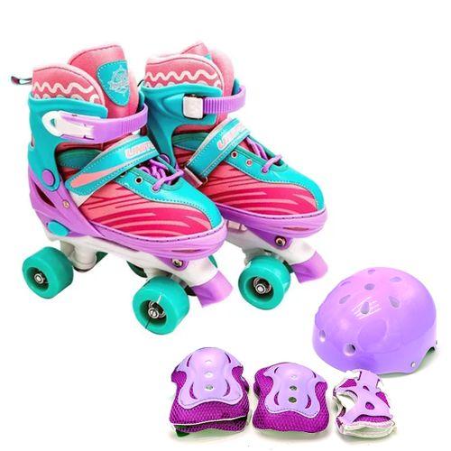 Patins 4 Rodas Roller Quad Infantil + Kit Proteção