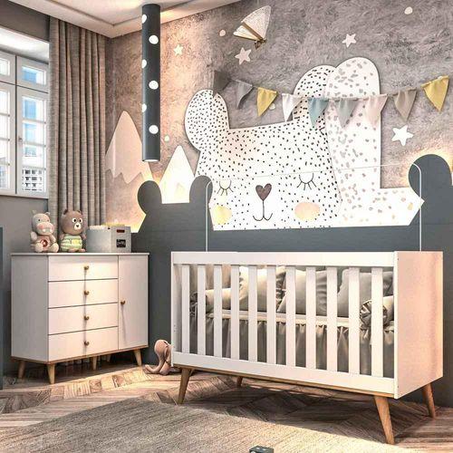 Quarto de Bebê Retrô Cômoda 4 Gavetas com Fraldário Berço 3 em 1 Lígia Branco com Bétula Carolina Baby