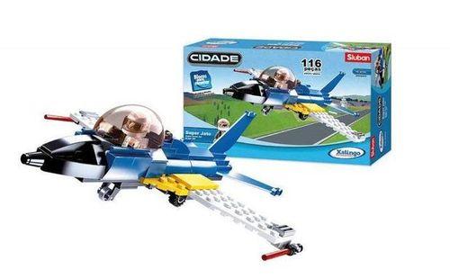 Blocos de Montar - Tipo LEGO - Super Jato com 116 peças - 1598 - Xalingo