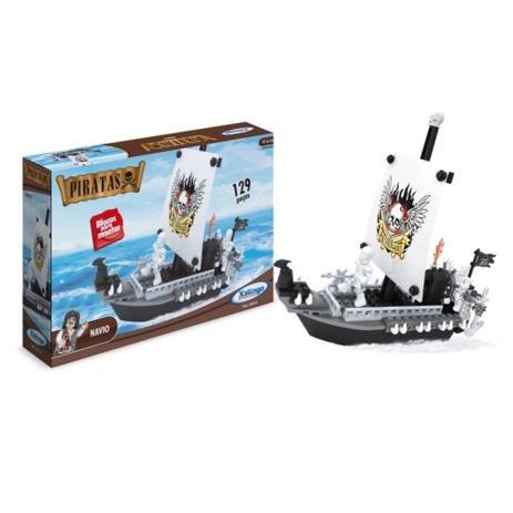 Blocos de Montar - Navio Pirata - Tipo Lego - com 129 peças - 5109 - Xalingo