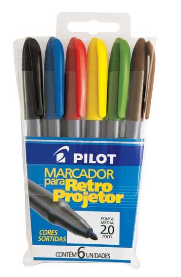 Pincel para Retroprojetor 2.0mm Colorido Pilot - Estojo com 6 Cores-16802