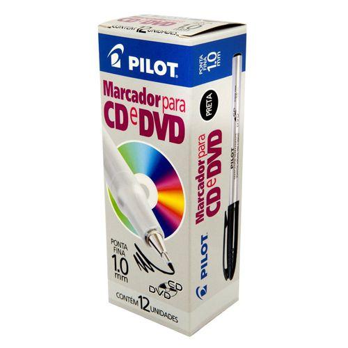 Pincel Permanente para CD 1.0mm Preto Pilot - Caixa com 12 Unidades-157562