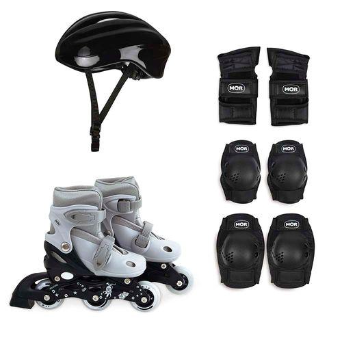 Kit Roller Cinza Tamanho P 30-33 (Roller, Joelheira e Capacete)