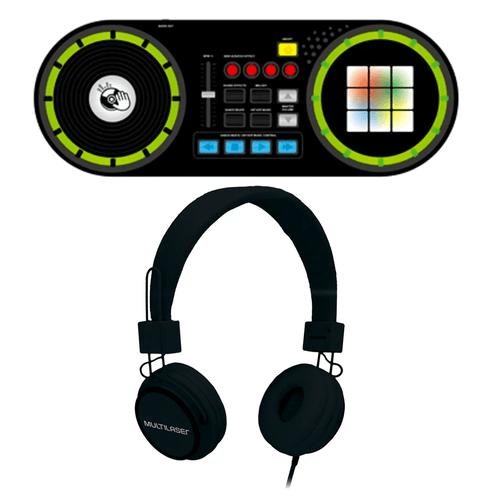 Combo DJ Infantil - Fone De Ouvido Com Microfone Headfun P2 com Dj Mixer Painel de LED Multikids - BR1175K