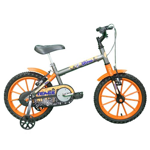 Bicicleta - Aro 16 - Dino - Infantil - Tk3-Track - Prata e Laranja