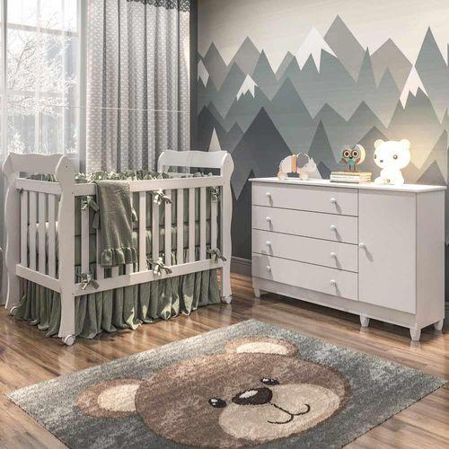 Quarto de Bebê Cômoda 4 Gavetas com Fraldário Taís Berço 3 em 1 Lila Branco Amadeirado Carolina Baby