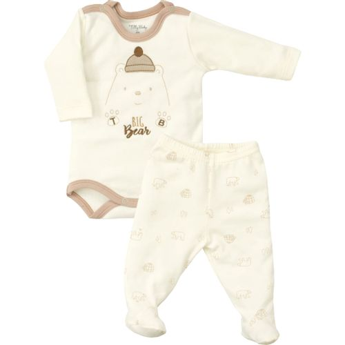 Kit 2 Peças Bebê Tilly Baby Urso Polar: Body Manga Longa + Culote - Em Suedine 100% Algodão - Bege
