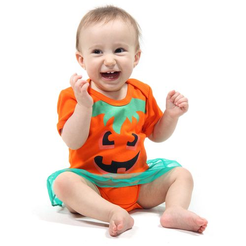 Body com Saia Bebê Abóbora - Halloween