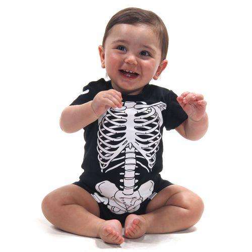 Body Macaquinho Bebê Esqueleto - Halloween