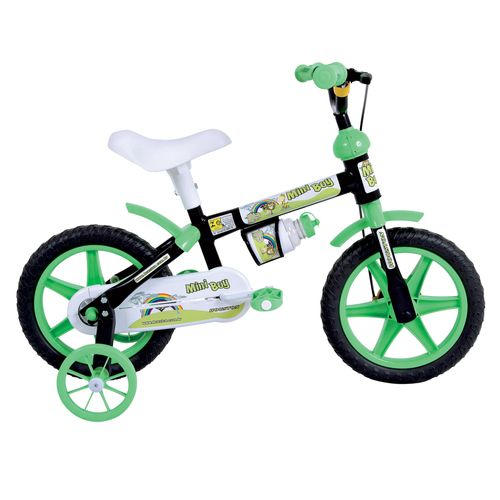 Bicicleta Aro 12 Mini Boy Preta e Verde - Houston