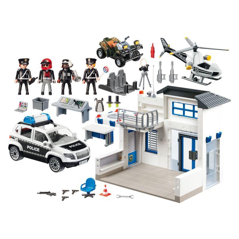 Playmobil---Posto-Policial-com-Heliponto-Carro-de-Policia-e-Helicoptero---1760_Detalhe