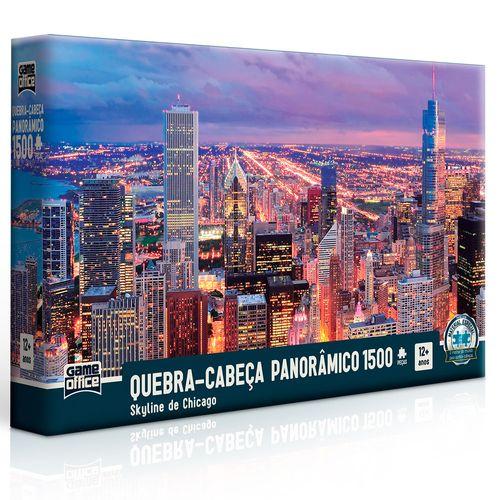 Quebra-Cabeça Panorâmico - Skyline de Chicago - 1500 Peças - Toyster