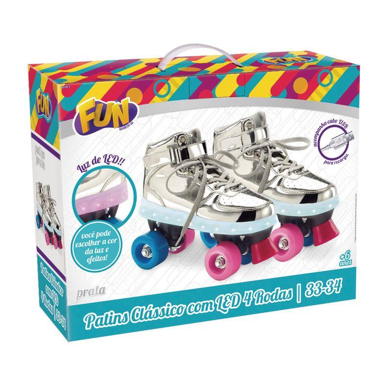 Patins-Classico---4-Rodas-com-LED---Prateado---Fun---Tam-37-38