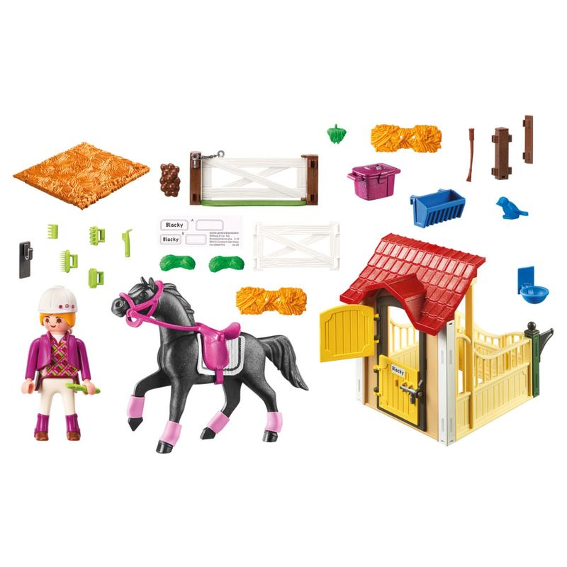Playmobil-Country---Cavaleiro-com-Estabulo---Blacky---6934---Sunny