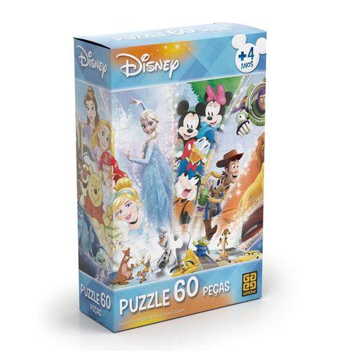 Quebra-Cabeça - 60 Peças - Disney - Personagens Disney - Grow