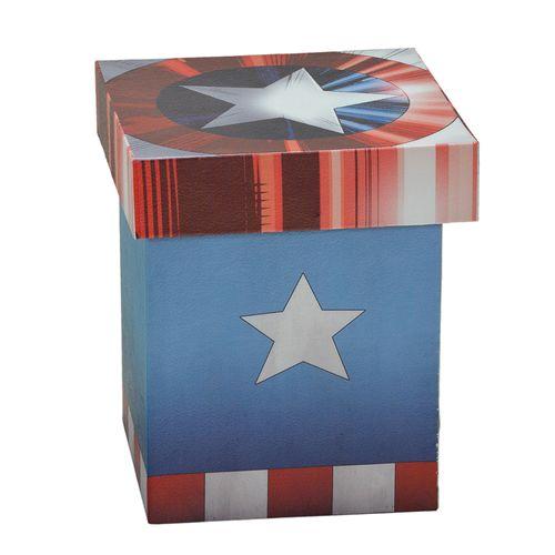Caixa Decorativa - 20 Cm - Disney - Marvel - Capitão América - Logo - Mabruk