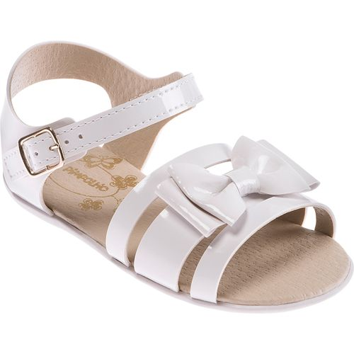 Sandália para Batizado - Feminina - Branco com Lacinho - Pimpolho